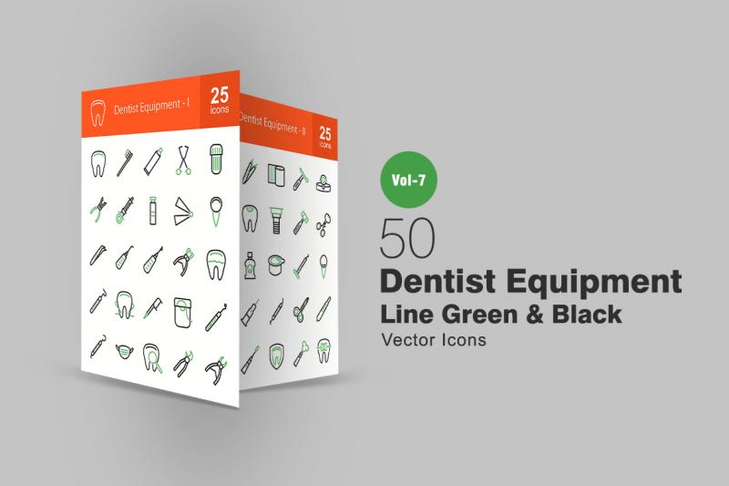 50牙医设备绿色和黑色线图标icon