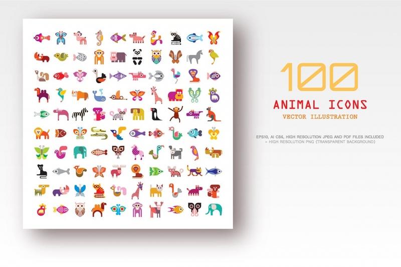 100动物矢量图标icon