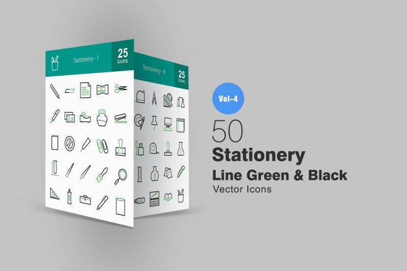 50文具线绿色和黑色图标icon