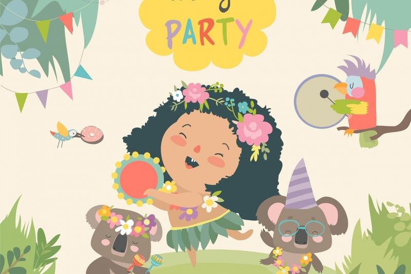 跳舞与小女孩的逗人喜爱的考拉。矢量插画